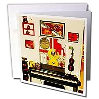 3drose A Musical壁の電気ピアノで部屋をinするホーム–グリーティングカード、6x 6インチ、セットの近く6( GC _ 64891_ 1)