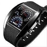 スピード メーター風 デジタル 腕 時計 LED ファッション メンズ ウォッチ 黒