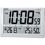 セイコー クロック 掛け時計 置き時計 兼用 電波 デジタル カレンダー 六曜 温度 湿度 表示 大型 銀色 メタリック SQ433S SEIKO