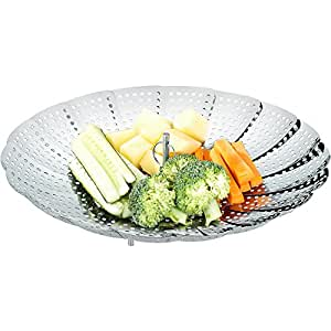 Ecooe Stainless Steel Vegetable Steamer with Free Bonus - a Peeler, Foldable Vegetable Basket Expand from 6 to 10.5 for Kitchen Cooking by Ecooe