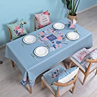 テーブルクロス 農村スタイルのテーブルクロス/コットンリネンティーテーブルクロス/長方形の厚いテーブルクロスのテーブルクロス (Color : Blue, Size : 100*140cm)