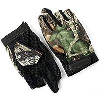 釣り用 手袋 迷彩 葉柄 フィッシンググローブ 指 3本 出し 釣道具 防寒 手袋