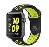 NIKE スポーツウェア LEEHUR Apple Watchベルト 運動風耐汗シリカゲルスポーツアームバンド 交換用アップルウォッチバンド 新型Nike Apple Watch Series 2/Series 1 に対応 (42mm, 黒&黄)