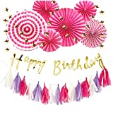 Hanamei 誕生日 飾り付け 装飾 バースデー デコレーション セット no.3 筆記体 スクリプト スターガーランド pa008 … (ビビッドピンク)