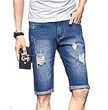 (ランドロップ) landrop デニム ハーフパンツ メンズ 短パン ジーンズ ジーパン 大きい オオキイ サイズ ショーパン シンプル デザイン ユッタリ オシャレ ヒップホップ ストレート カッコイイ ライト ブルー インディゴ ブラック (30, 青)