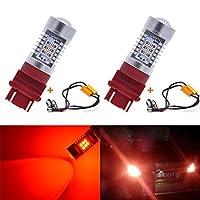KaTur 3155 3157 3157A 3457A赤色LED電球2835 42SMD 12VレンズLEDがCanbusデコーダーで信号灯に変わるエラーフリー50W 8ohm負荷抵抗ハーネスセット(2個入り)