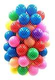 カラーボール 100個入り 直径 5.5cm ポリエチレン製 収納ネット付き キッズ ハウス (100個セット)