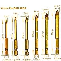 多機能三角形ドリルガラスタイルコンクリートドリル穴ドリルビットシングルチップクロスヒント六角シャンク-Cross tip 6pcs