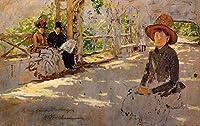 ¥5K-200k 手書き-キャンバスの油絵 - 美術大学の先生直筆 - Women under Trellis unfinished William Merritt Chase 絵画 洋画 複製画 ウォールアートデコレーション -サイズ06