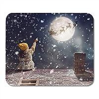 マウスパッドファッションが摩擦を防ぐメリークリスマスと幸せな休日屋根の上に座って、サンタクロースを見てかわいい子女の子ノート、デスクトップコンピューターオフィス用品のマウスパッドファッションが摩擦を防ぐ