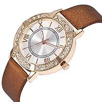 goupgolboll-ファッション女性のどの革バンドローマダイヤルアナログクォーツ腕時計ギフト - ブラウン