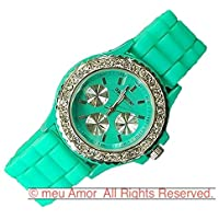 meu Amor   腕時計  ビビットカラー レディース メンズ  カラフル シリコンラバー  トラディショナル フェイス パステルカラー ビビットカラー  ファッション腕時計 (Czダイヤモンド×グリーン)