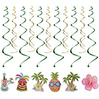 Hawaiian Hanging Swirls Spiral Cute Cartoon DIY Hawaii Tropical Theme Swirls Spiral Party Decoration (Flamingo Style + Coconut Style)12pcs