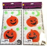 Pumpkin Stars Moon Halloween Window Gel Clings Lot 2 NIP [並行輸入品]