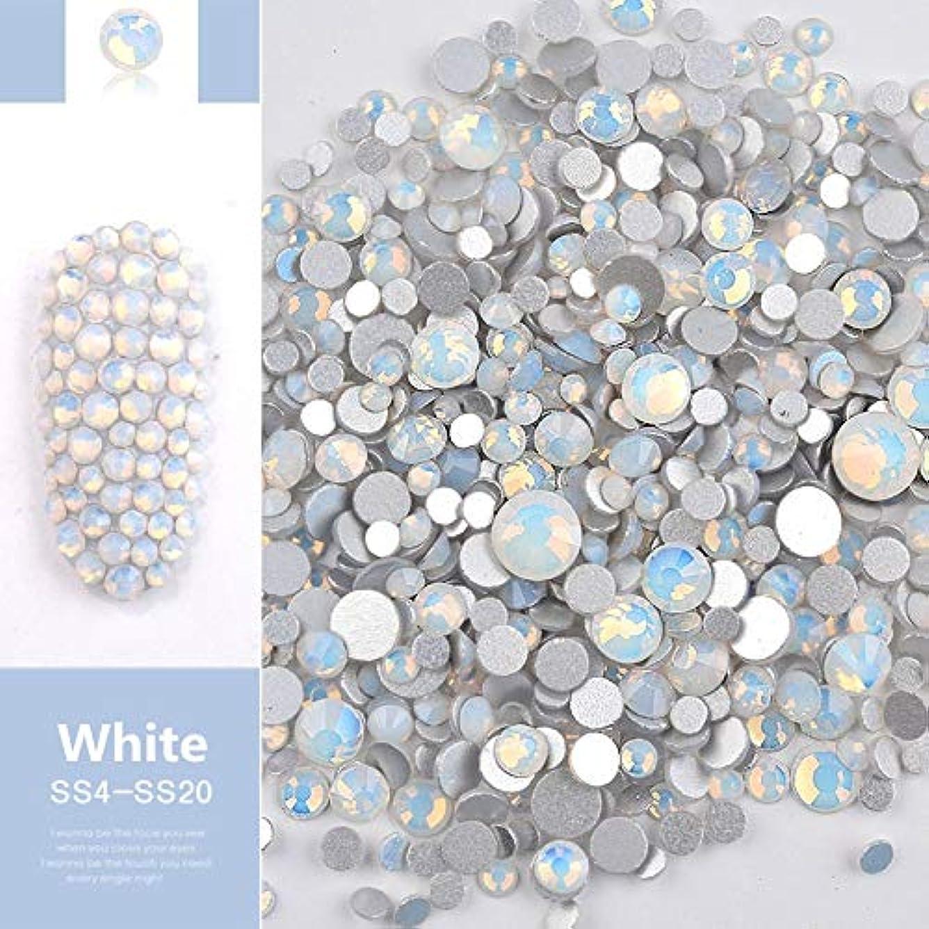 侮辱征服する心理的Jiaoran ビーズ樹脂クリスタルラウンドネイルアートミックスフラットバックアクリルラインストーンミックスサイズ1.5-4.5 mm装飾用ネイル (Color : White)