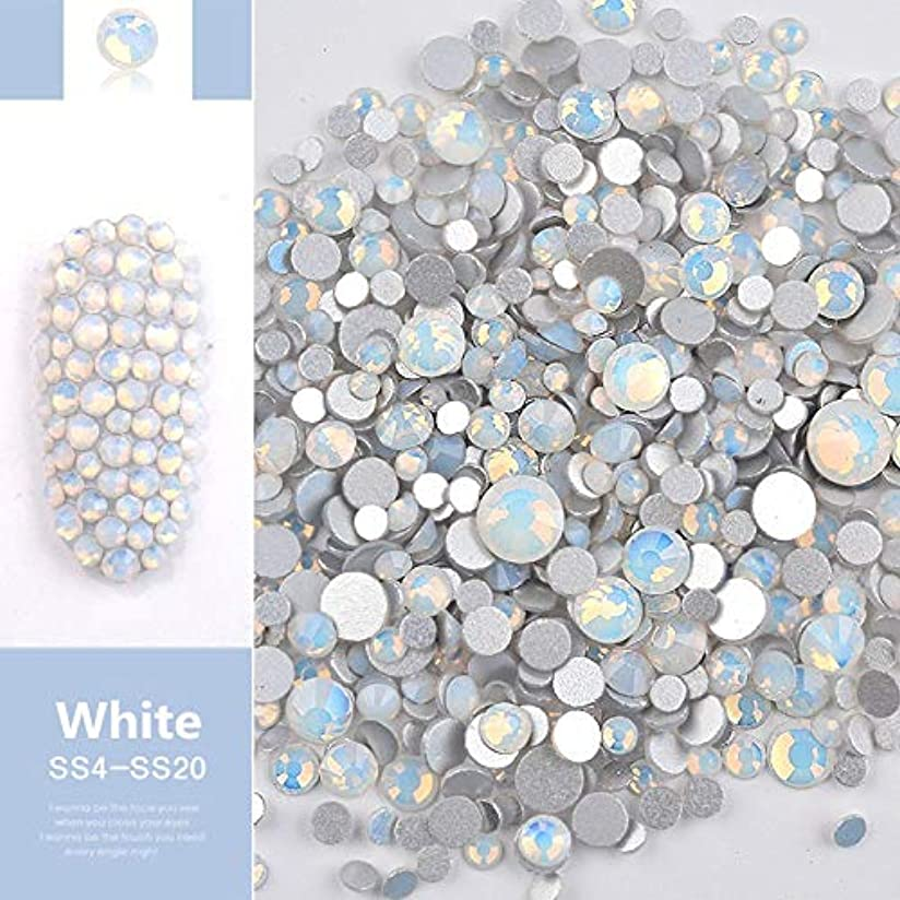 ボーダーエントリドラマJiaoran ビーズ樹脂クリスタルラウンドネイルアートミックスフラットバックアクリルラインストーンミックスサイズ1.5-4.5 mm装飾用ネイル (Color : White)
