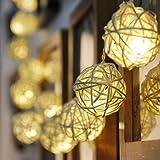 Lankdeals 20LED ラタン ヴァインボール ソーラーストリング ライト お庭やベランダ/玄関/お店周り/広場/街路樹/屋外の中庭/結婚式/クリスマス/パーティー用 防水IP64・ウォームライト(暖かい光) PSE認証済み