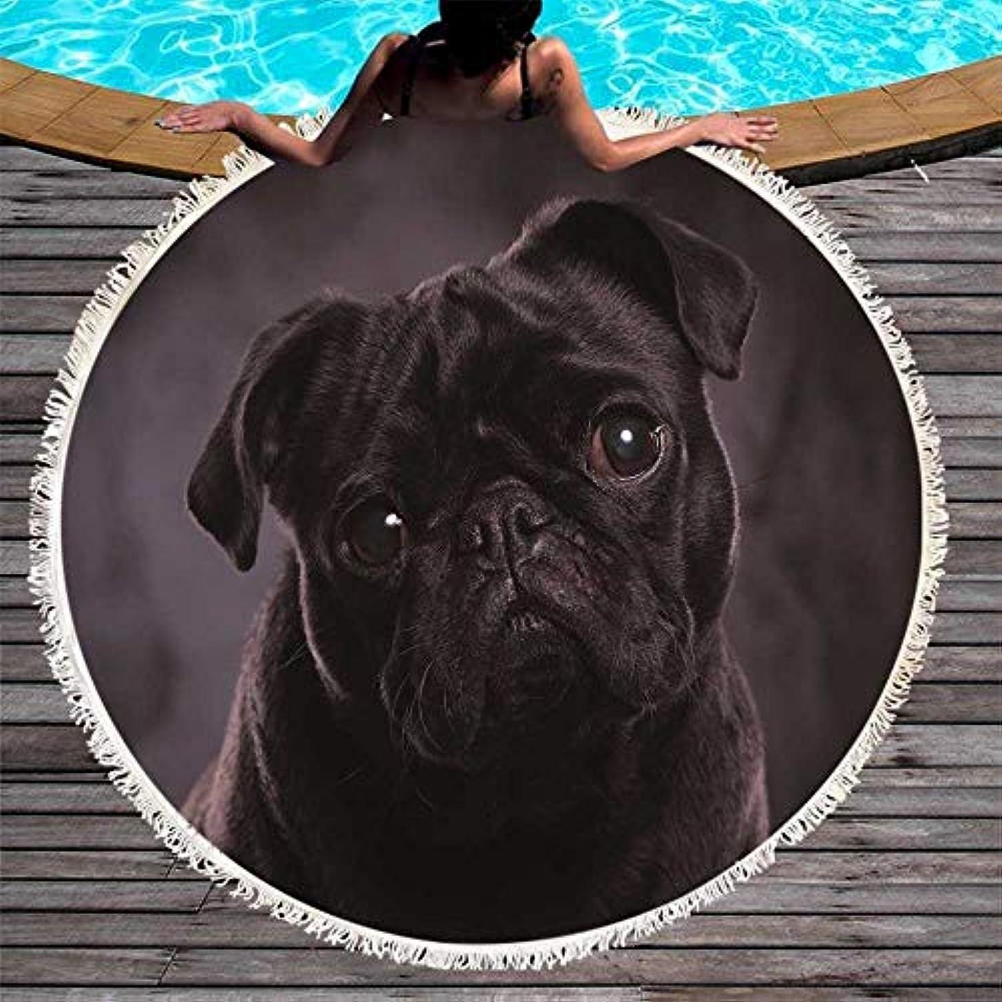 水っぽいラッシュ豆犬ラウンドビーチタオルプリントタッセルマイクロファイバーブランケットヨガ動物ピクニックラージマット150 cm (色 : 2, サイズ : 150CM)