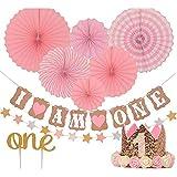 MILICOCO 誕生日 飾り付け ペーパーファン ペーパー飾り付け バースデー パーティー飾り 5点セット 女の子 一歳誕生日 ピンク系 バースデー ガーランド プレゼント (ピンク)