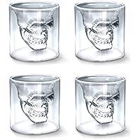 Shellme スカル頭骨ワイングラス ガラスマグカップ クリスタルドクロジョッキ 4個セット 二重グラス クリア ジュースカップ おしゃれ 耐熱ガラス プレゼント 耐高温 無地 透明 個性 バー