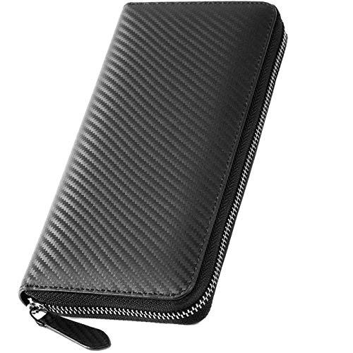 84d1e49dc217 長財布 -カーボン 本革 メンズ 財布, 高級 人気 男の 皮 ラウンドファスナー