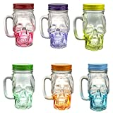 Set of 6 Assorted Colored Glass Skull FaceドリンキングマグMason Jar withハンドルと蓋12 oz - - - - - - -