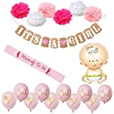 Baby Shower Decorations BABY SHOWER & IT'S A GIRL Garland Bunting Banner [並行輸入品]
