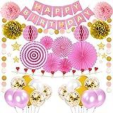 誕生日飾り付け ピンクゴールド パーティー飾り happy birthdayバナー ガーランド 写真のクリップ 紙吹雪入れラテックスバルーン ペーパーフラワー ファン 女の子 100日半歳一歳誕生日お祝い 部屋飾り