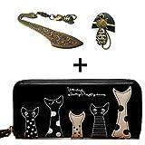 猫 長財布 ニャンとも かわいい 財布 札入れ、小銭入れ、カードポケット8個 たっぷり収納&ラウンドファスナー 猫のブックマーカー付 (ブラック)
