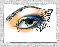 "Eyeタペストリーby Ambesonne、ファンタジーWoman 's Eye Make Upバタフライウィング鮮やかな色まつげメスLooking、壁掛け、ベッドルームリビングルーム寮、マルチカラー 60"" W By 40"" L wid_39147_60x40"