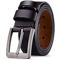 Tiitc Mens Belt Genuine Leather dress belts for Men with Single Prong Buckle Black & Brown