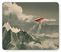 ファンタジーマウスパッド、複葉機Flying Over Mountain Range内側Storm CloudsデジタルNature航空ペイント、標準サイズ長方形ノンスリップゴムマウスパッド、レッドグレー
