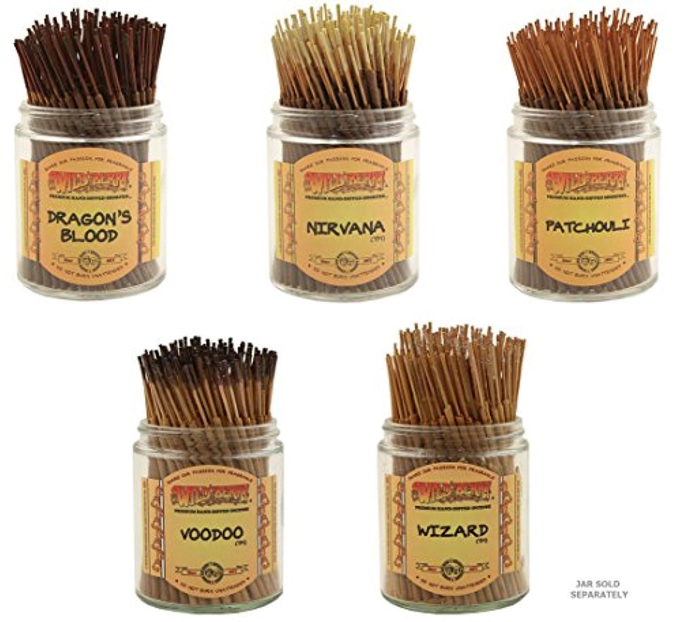 カリキュラム悪性チャーミングWildberry Short Incense Sticks – Set of 5 Best Selling Fragrances – Dragon 's Blood、Nirvana、パチュリ、Voodoo、ウィザード(...