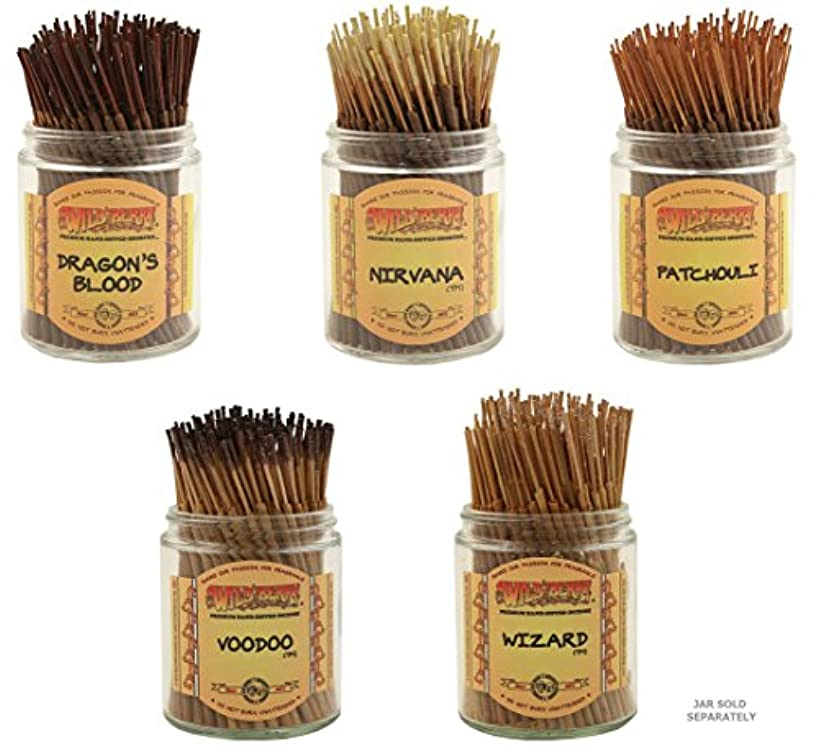 ステレオタイプ会話インドWildberry Short Incense Sticks – Set of 5 Best Selling Fragrances – Dragon 's Blood、Nirvana、パチュリ、Voodoo、ウィザード(...