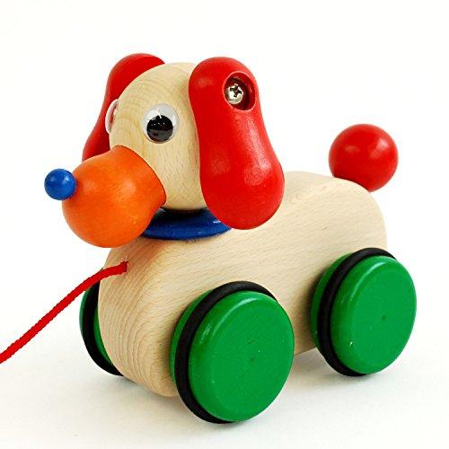 「日本製木のおもちゃ」プルトイ*ふりふりワンちゃん