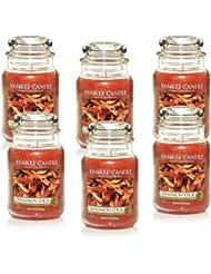 Yankee Candle Large 22-ounce Jar Candle、シナモンスティック Set of 6 1055974X6