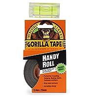 Gorilla 6100101 ダクトテープ to Go、1インチ x 30フィート、ブラック、バブルレベラーツール付き