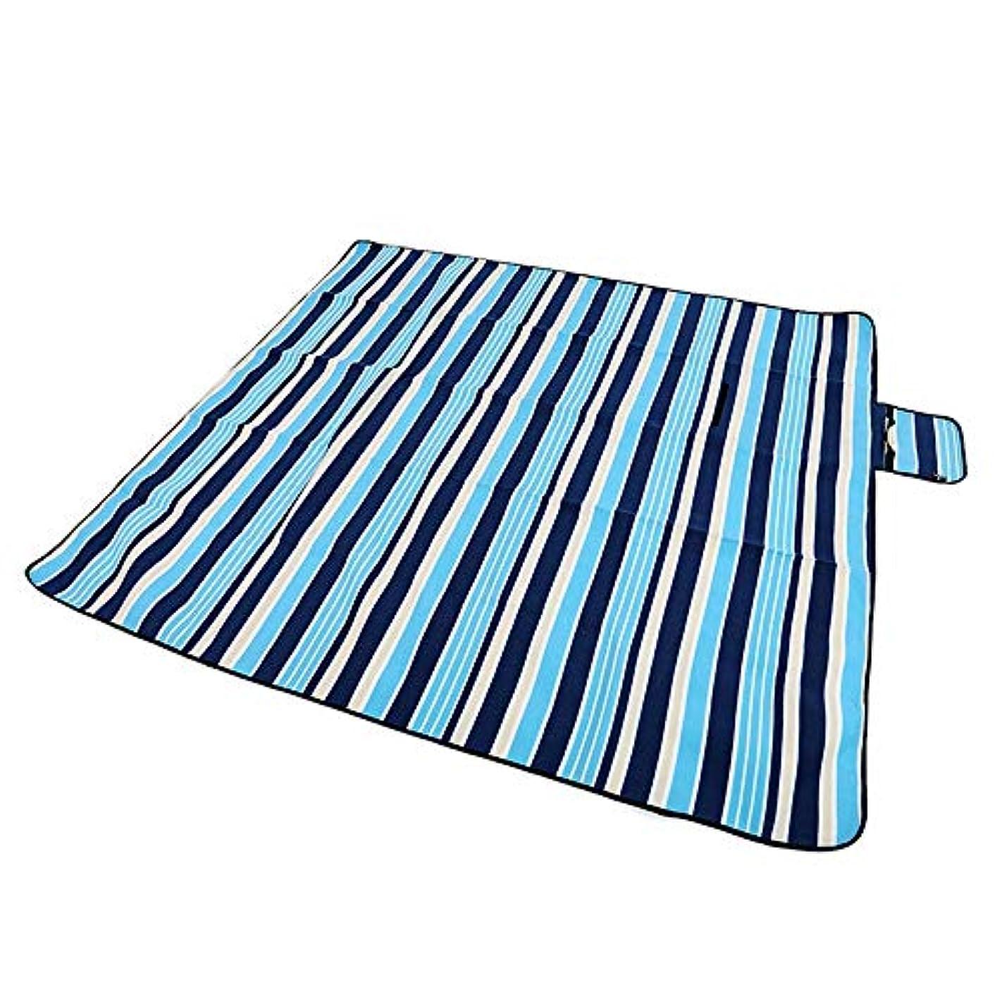 ポークナチュラル区別折りたたみキャンプマット毛布 大型屋外ピクニック毛布マットべと病耐性防水ビーチマット敷物キャンプマットグラウンドグラスブランケット150×200センチ レジャーシート防水薄型 (色 : Blue Stripe, サイズ : 150 x 200 cm)