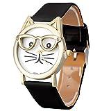 アディダス 腕時計 かわいい 眼镜をかける猫 腕時計 レディース 6色 人気 クォーツ チェーンブレスレット 腕時計 おしゃれ 女の子 ウォッチ おもしろい 3.5cm ×23cm×2cm 時計 ビジネスギフト、休暇、誕生日、旅行、記念日などの贈り物に適用(紫+浅青+白+黒+ピンク+豹柄色) (ブラック)