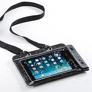 サンワダイレクト iPad mini Nexus7 防水ケース お風呂 対応 7インチ汎用 スタンド機能 ストラップ付 200-PDA126