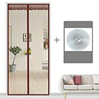 ミュート 磁気カーテン、フルフレームベルクロ マグネット付き簡単網戸 夏 玄関網戸-95×220センチメートル(37×87インチ)-C