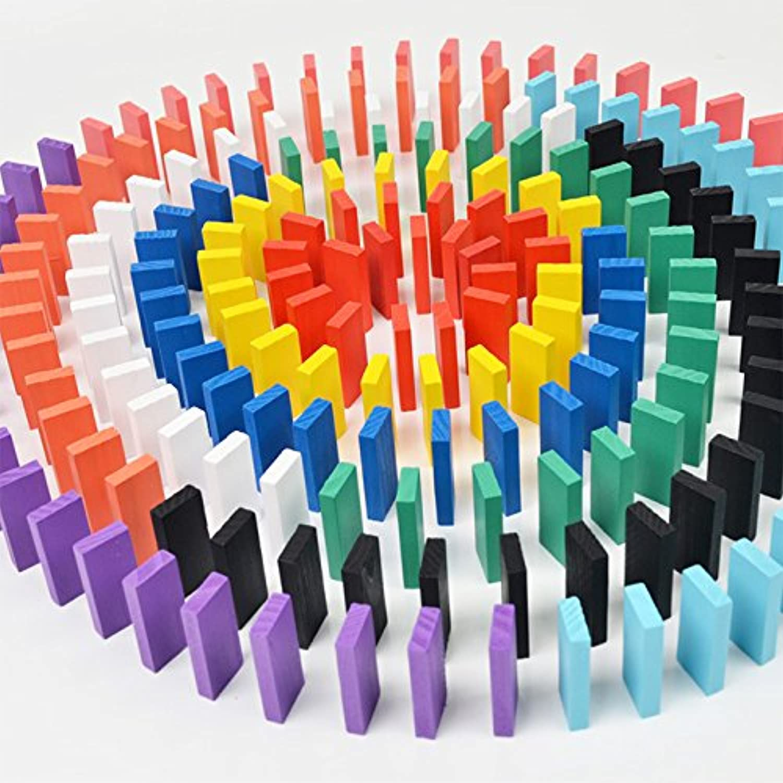 purewill木製Dominoes – 明るいカラフルな入りドミノゲームブロック教育玩具子供用