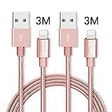ライトニングケーブル ,Sungluber (TM) USB ケーブル 高性能 USB 延長 充電 ケーブル Lightning ケーブルiPhone6 / 6s / 5 / 5s / 6Plus / 6sPlus , Pink (3M,3M) HS-USB-035-02