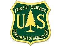 イエロー&グリーンUS Forest Service Shield Shapedステッカー( Forestryロゴデカール)