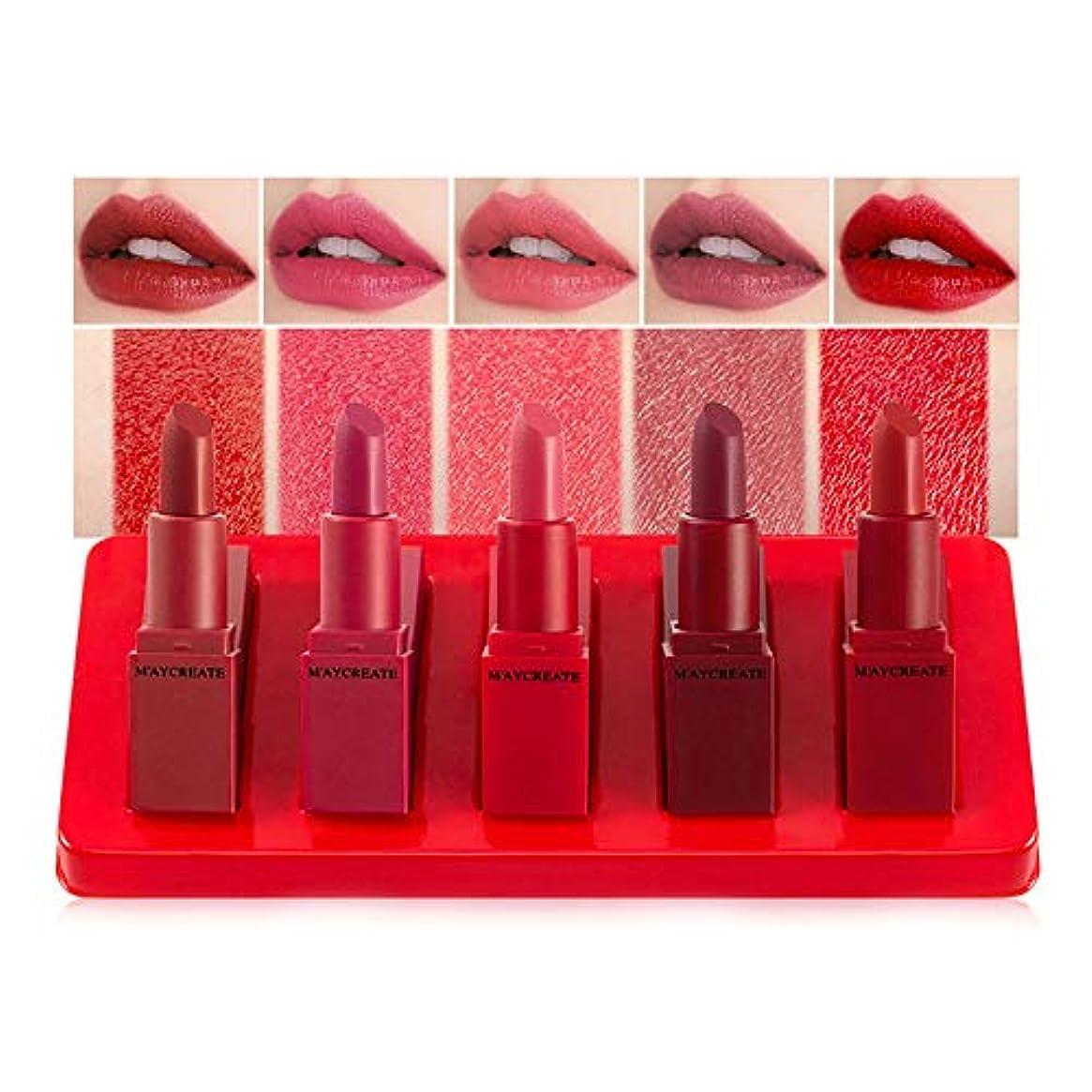許される忘れられない達成可能5本/セット口紅化粧品女性化粧セット保湿バームファッション防水セクシーな口紅