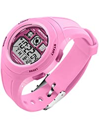 SANDA 子供 学生 PU バンド 多機能 電子時計 防水 LED スポーツ デジタル 腕時計 (ピンク)