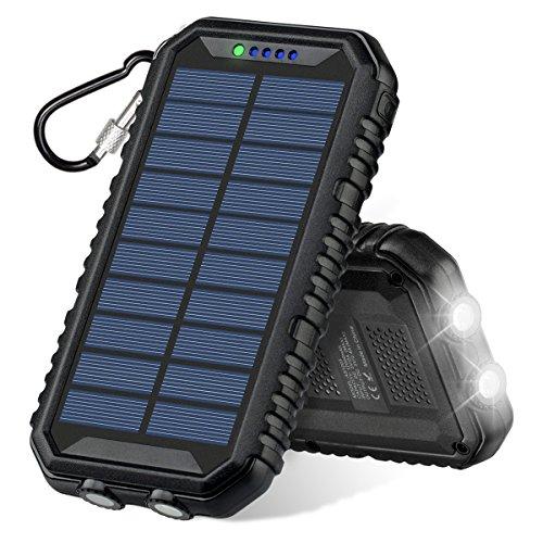 ソーラーチャージャー ADDTOP 12000mAh モバイルバッテリー IP67防水・防塵・耐衝撃 2USB出力ポート LEDライト付き 太陽光で充電でき 災害時/旅行/アウトドアに大活躍