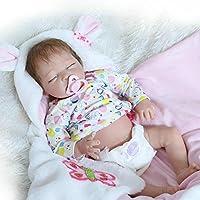 Reborn新生児Girl Sleepingソフトビニールベビーシリコン人形22インチRealisticで子供磁気おもちゃおしゃぶり
