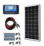 ECO-WORTHY 100W 太陽光発電単結晶ソーラーパネル 20A 液晶表示画面チャージコントローラー 付属