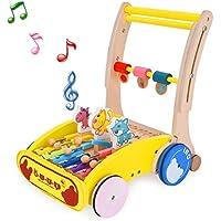 Rooyaベビー木製ベビーウォーカー、多機能音楽活動ウォーカー学習ウォーキング玩具for 1年、Up、幼児用プッシュとプルWooden Xylophone &歯車で学習ウォーカー